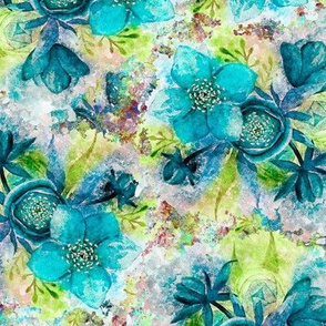 dreamy watercolor hellebore flowers turquoise lime