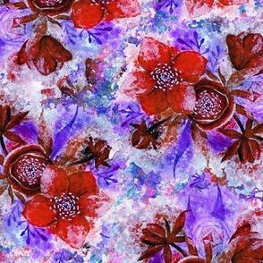 dreamy watercolor hellebore flowers red violet burgundy