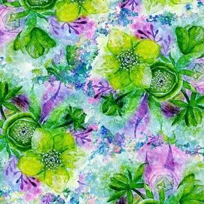 dreamy watercolor hellebore mint green lilac sky blue