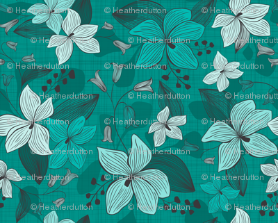 Avery - Floral Teal Monochrome