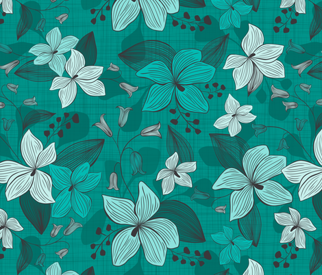 Avery - Floral Teal Monochrome  fabric by heatherdutton on Spoonflower - custom fabric