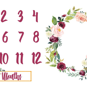 Autumn Watercolor Floral Wreath Miletones Months Blanket