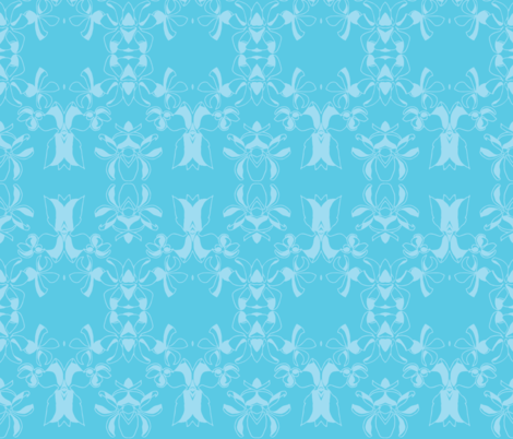 Oxalis  swirls monochrome blue fabric by kukileaf on Spoonflower - custom fabric
