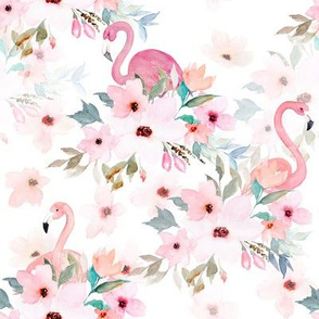 "8"" Summer Floral Flamingos"