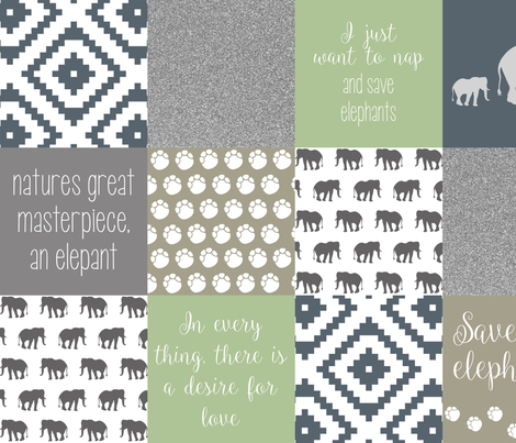save the elephants fabric by emmalynnsessential on Spoonflower - custom fabric