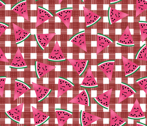Happy Watermelon Slices fabric by themadcraftduckie on Spoonflower - custom fabric