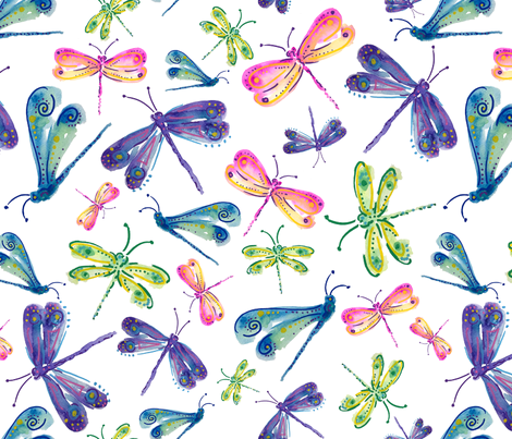 Dragonfly Carnival fabric by victoria_jane_studio on Spoonflower - custom fabric