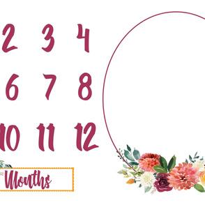 Autumn Watercolor Floral Miletones Months Blanket FLEECE