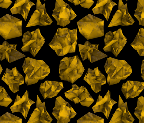 """Gold Polygons on Black 12x14"""" fabric by greenmountainfabric on Spoonflower - custom fabric"""