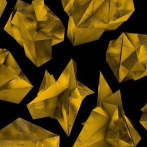 "Gold Polygons on Black 12x14"""