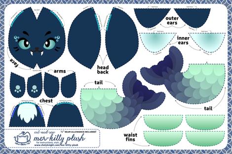 Cut & Sew Mer-kitty Plush Navy fabric by sewdesune on Spoonflower - custom fabric