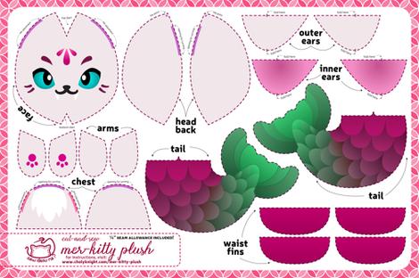 Cut & Sew Mer-kitty Plush Fuchsia fabric by sewdesune on Spoonflower - custom fabric