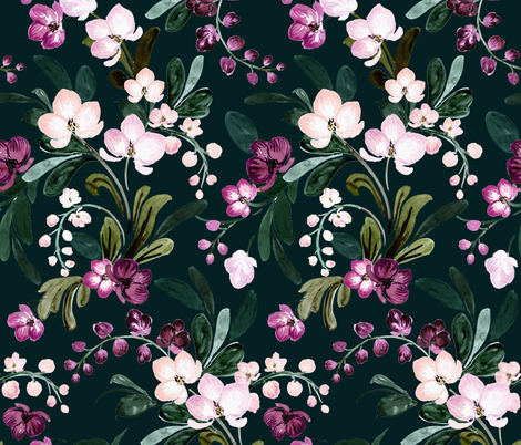 paradise bloom dark fabric by crystal_walen on Spoonflower - custom fabric