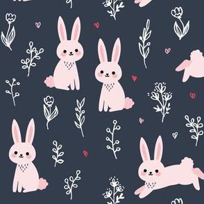 Spring Rabbits - Dark Blue