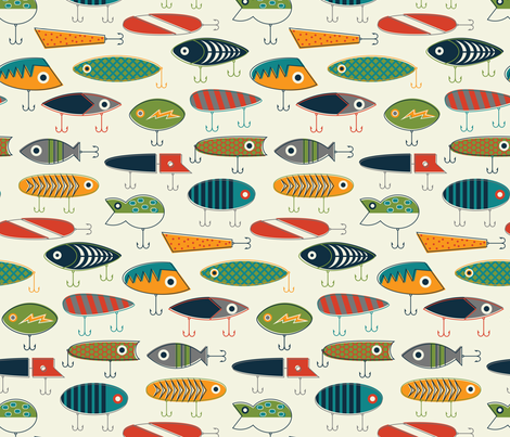 Hooked Up - Cream Background fabric by katerhees on Spoonflower - custom fabric