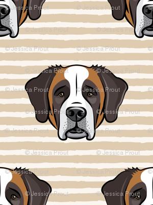 St Bernard - dog fabric on tan stripes