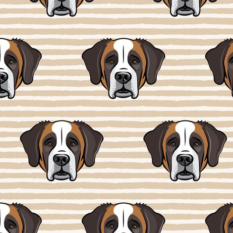 St Bernard - dog fabric on tan stripes fabric by littlearrowdesign on Spoonflower - custom fabric