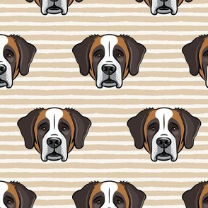 St Bernard - dog fabric on tan stripes