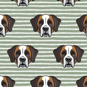 St Bernard - dog fabric on sage stripes