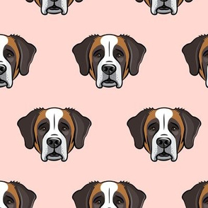 St. Bernard - dog fabric on rose
