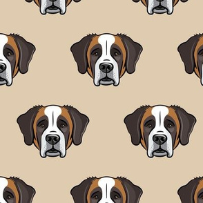 St. Bernard - dog fabric on tan