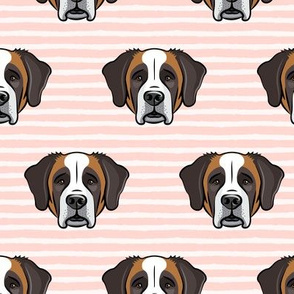St Bernard - dog fabric on pink stripes