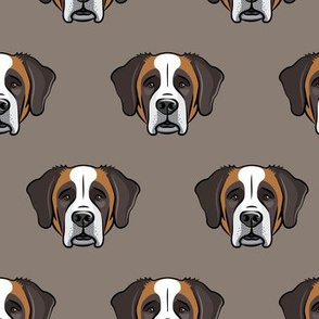 St Bernard - dog fabric on brown