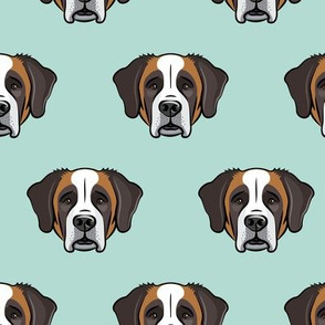 St. Bernard - dog fabric on dark mint