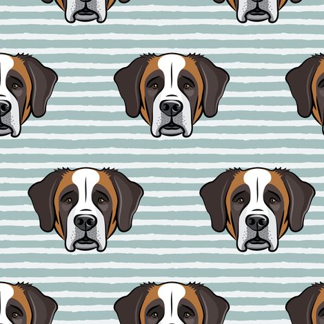 St Bernard - dog fabric on dusty blue stripes fabric by littlearrowdesign on Spoonflower - custom fabric