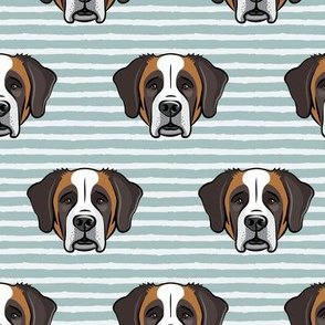 St Bernard - dog fabric on dusty blue stripes