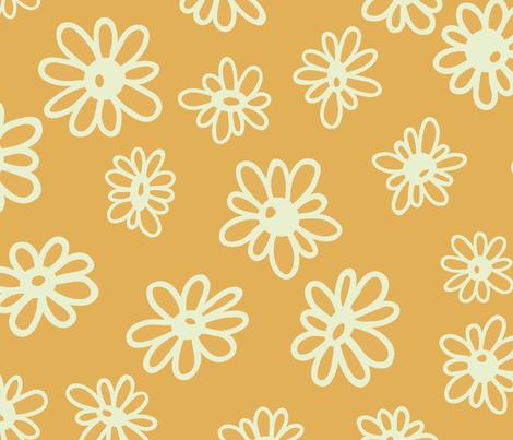 Driving Miss Daisy on Mustard fabric by paula_ohreen_designs on Spoonflower - custom fabric