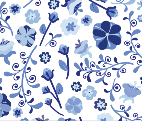 Dutch Blue Florals-kB fabric by kimbliss on Spoonflower - custom fabric