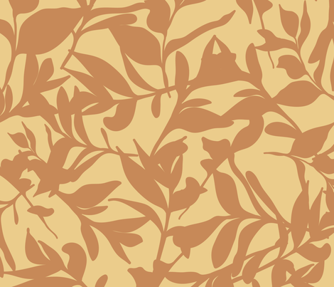 Forest Floor on Mustard fabric by paula_ohreen_designs on Spoonflower - custom fabric