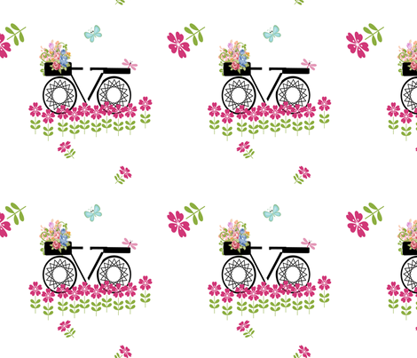 take time to smell the flowers on white fabric by betz on Spoonflower - custom fabric
