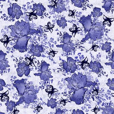 Blue Iris and Butterflies