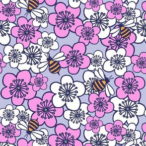 Blossoms and Bees Grey Pink