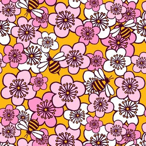 Blossoms and Bees Mustard and Pink