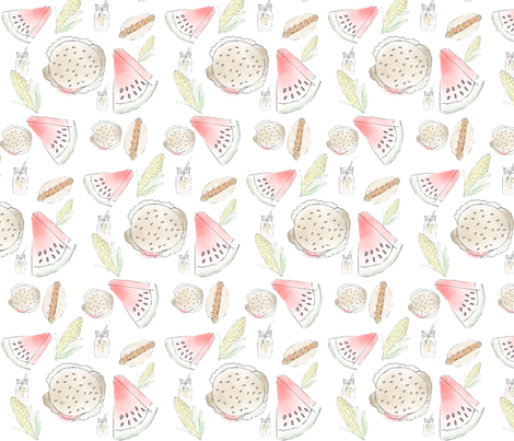 BBQ PATTERN fabric by lapriscilledesign on Spoonflower - custom fabric