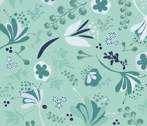 Beautiful Blooms on Teal fabric by paula_ohreen_designs on Spoonflower - custom fabric
