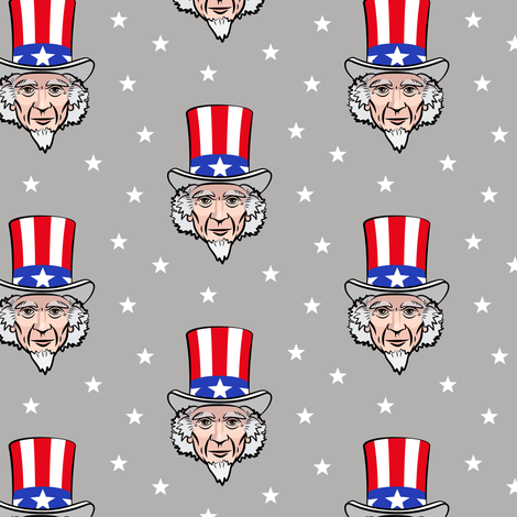 Uncle Sam - grey fabric by littlearrowdesign on Spoonflower - custom fabric