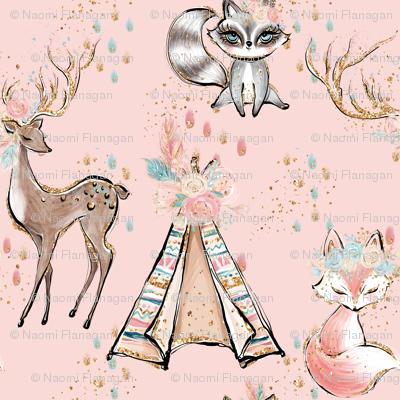 Glitter pink boho- minky child size blanket
