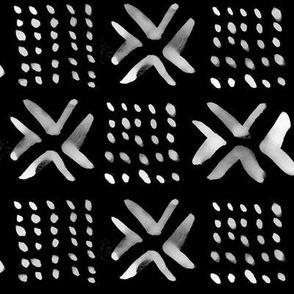 Painted Mali Mud Cloth // Black // Large