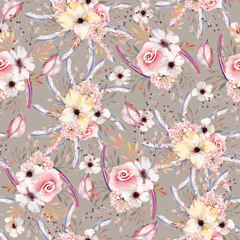 WATERCOLOR FLOWERS ON SAND TAUPE COORDINATE TO SPRING TEEPEE fabric by floweryhat on Spoonflower - custom fabric