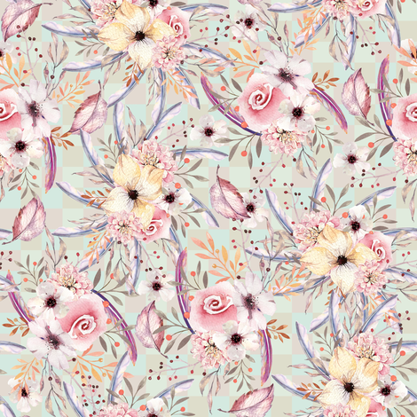 c6ccabc0324 rrWATERCOLOR FLOWERS ON GINGHAM GREEN SAND COORDINATE TO SPRING TEEPEE by FLOWERYHAT shop preview.png