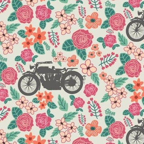 Vintage Motorcycle on Carnation & Cranberry Floral // Small
