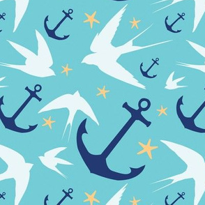Blue Swallows & Anchors