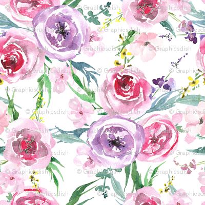 Light gentle watercolor flowers bouquets on white background