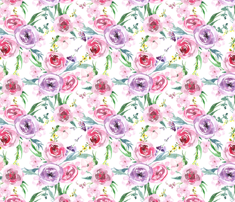 Light gentle watercolor flowers bouquets on white background fabric by graphicsdish on Spoonflower - custom fabric