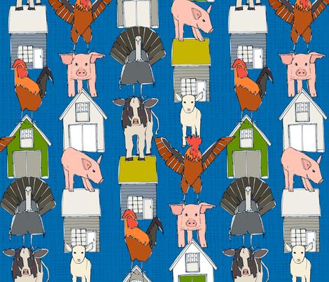 farm pop blue fabric by scrummy on Spoonflower - custom fabric