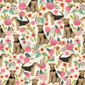 airedale terrier (smaller) dog fabric cute dogs spring florals fabric - floral spring design
